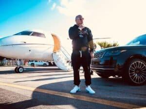 Rapper Birdman with his Jet