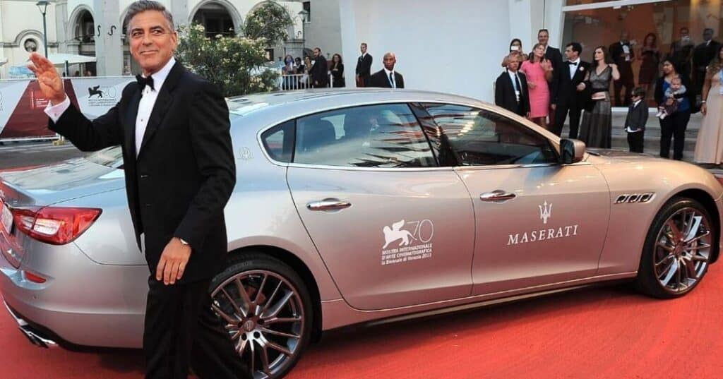 George Clooney and his silver Maserati 4200