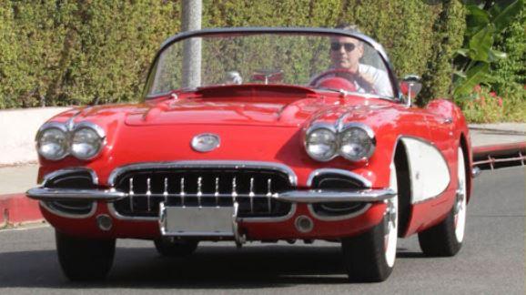 Clooney in his 1958 Corvette
