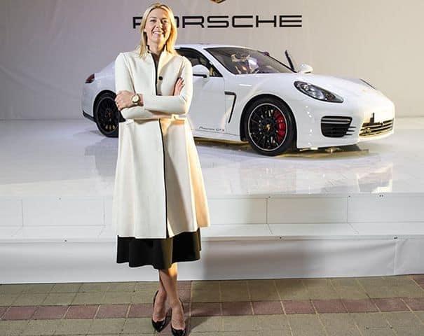 Maria Sharapova while being the Brand Ambassador of Porsche