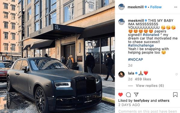 Meek Mill's official announcement after he donates Rolls-Royce Phantom.
