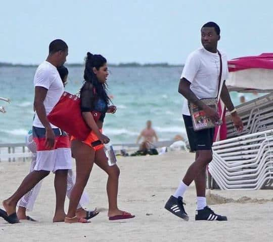 Meek Mill photographed enjoying his holiday at the beach with his girlfriend.
